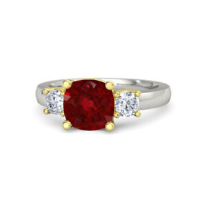 2.00 Ct Ruby 0.50 Ct Diamond 950 Platinum Bridal Engagement Ring Sizes 5 4 6 7 8