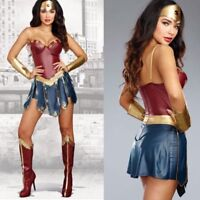 Wonder Woman Super Hero Costume Superwoman Fancy Dress Halloween Party Outfit