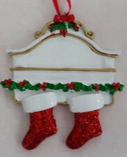 Personalized White Mantle with Two 2 Stockings Couple Family Christmas Ornament