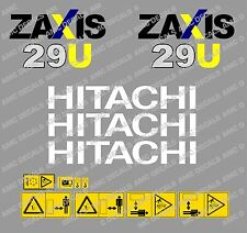 HITACHI ZAXIS 29U MINI DIGGER COMPLETE DECAL SET WITH SAFETY WARNING SIGNS