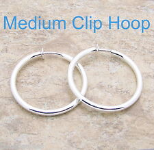 "1 1/2"" Medium Silver HOOP CLIP Earring 3mm Diameter Clipon Shiny Classic Style"