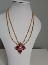 BUTLER AND WILSON Pink Multi Colour Stone Gold Tone Necklace