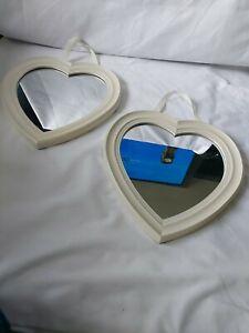 Pair Of White Framed Heart Shaped Mirrors 30x29.5cm