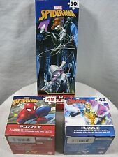 Lot of 3 Spiderman, Avengers 48 Piece Jigsaw Puzzles, Marvel Comics Tower Puzzle