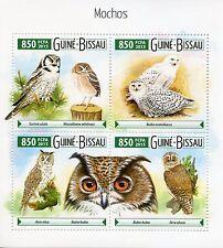 Guinea-Bissau 2015 MNH Owls 4v M/S Birds of Prey Fauna Mochos