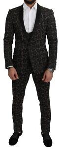 DOLCE & GABBANA Suit Black Floral Shawl 3 Pieces Shiny S. IT46/US36/S