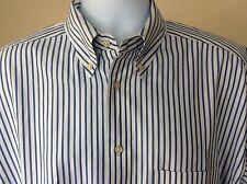 Men's Banana Republic Long Sleeve Blue and White Striped Shirt Size L CA 17897