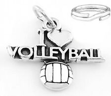 """SILVER """"I LOVE VOLLEYBALL"""" CHARM WITH SPLIT RING"""