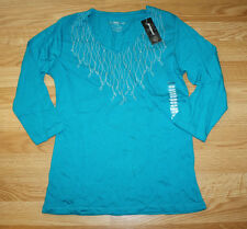 NWT Womens GREENSOURCE Teal Blue Embellised Beaded L/S Shirt Size S Small