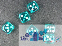 CHESSEX translucent 12mm SET OF 6 D6 TEAL-WHITE DICE MTG WoW POKEMON