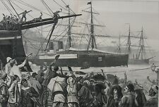 1882 Large Engraving- Cheering the Scots Guards in The Suez Canal - War in Egypt