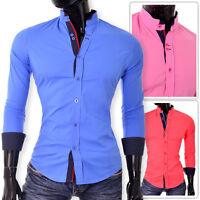 Stylish Men's Shirt Slim Fit Band Collar Roll Up Long Sleeve Casual Cotton Vivid