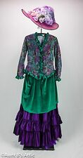 Historical Late 1800's Ladies 4 Pc. Green & Purple Skirt Crinoline Top & Hat MD