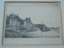 James / Jes Connell b.1863. Antique Signed Etching. Crail Harbour Fife Scotland