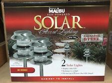 (2) Malibu Solar LED Outdoor Pathway Yard Landscape Lights STAINLESS STEEL Path