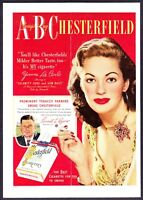 1949 Yvonne De Carlo photo 'Munsters' Chesterfield Cigarettes vintage print ad