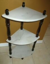 VINTAGE MARBLE TOP & WOOD SPINDLE 3-TIERED CORNER TABLE STAND