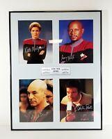 Star Trek Four Captains Autographed Framed Print Shatner Brooks Stewart Mulgrew