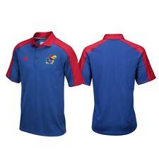 Kansas Jayhawks NCAA Adidas Men's Climalite Football Coaches Blue Polo Shirt