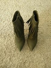 GREAT NWOB Green ALDO Size 38 1/2 Zip Up Suede-Feeling Boots High Heels 7.5