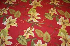 "3 yards 54"" wide LARGE TROPICAL FLORAL COTTON PRINT FABRIC RED-LIME-YELLOW"