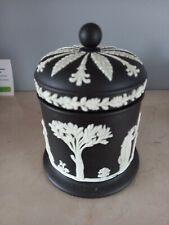 More details for vintage wedgewood black jasperware pot tobacco jar with lid classical design