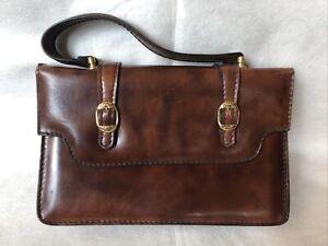 Brown satchel leather handbag vintage Italy