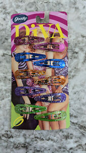 Vintage 1999 Goody Diva Colorful Glitter Barrettes Snap Hair Clips