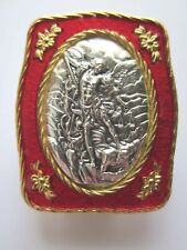 "St Michael the Archangel Embossed Auto Visor Clip Red Enamel 1 3/4"" Italy"