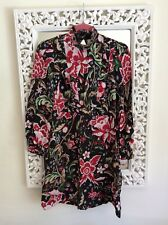 Zara Woman Black Lace Cut out Red and Pink Floral Print Dress Size S UK 8 10
