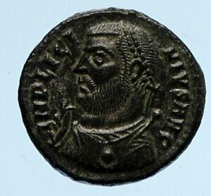 LICINIUS I Authentic Ancient OLD Roman Coin w JUPITER ZEUS & VICTORY i95885