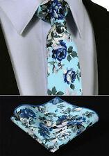 Mens Wedding Tie Sale - Blue Grey Floral- Necktie & Hanky Set Handkerchief