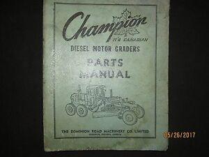 CHAMPION Motor Graders Grader Parts Manual With Cummins H-NH 743 Original 1968