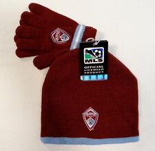 Adidas MLS Colorado Rapids Knit Beanie & Knit Stretch Gloves Boys 8-18 NWT