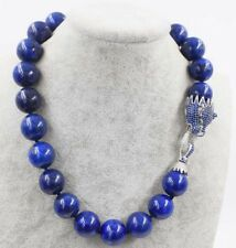 "lapis lazuli round 18mm leopard clasp necklace 18"" nature wholesale beads fashi"
