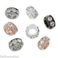 L/P 10 Mix European Charms Antiksilber Strass Gravur Spacer Perlen Beads DIY