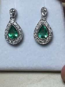 18ct. 750. White Gold. Natural Emerald & Diamond Earrings
