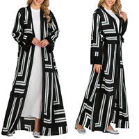 Womens Lady Striped Muslim Open Kimono Long Sleeve Cardigan Wrap Maxi Dress Robe