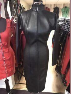 Misfitz black leather look mistress dress 2 way zip size 26. TV Goth steampunk
