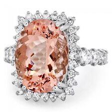 10.50 Carats Natural Morganite and Diamond 14K Solid White Gold Ring