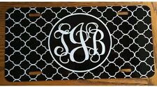 Monogram License Plate Black Quatrefoil Personalized Car Tag New