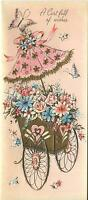 VINTAGE PINK ROSE BLUE DAISY PARASOL GARDEN FLOWER 1 CHRISTMAS TOY SHOP ART CARD