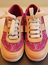 EUC Authentic LOUIS VUITTON Children's Monogram Denim Sneaker in Fuchsia US Sz 9