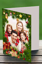 12 x Personalised Christmas Cards Photo A6 Blank Inside Letter Folded H2025