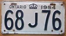 Ontario 1954 License Plate NICE QUALITY # 68J76