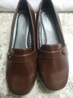 Kecom Leather Shoes Brown Button Strap Wedge Loafer Size 8 New