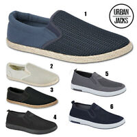 Mens Slip On Canvas Boys Espadrilles Pumps Plimsolls Trainers Shoes Sizes 7-12