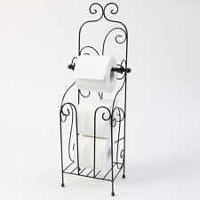 SHABBY CHIC BLACK TOILET ROLL HOLDER WC FREE STANDING METAL BATHROOM HOTEL