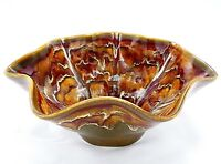"Fluted Bowl 10.5"" Studio Art Pottery Drip Glaze Red Brown Cream Stoneware Signed"