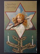 LOVING CHRISTMAS WISHES ANGEL & VIOLIN Embossed c1905 Postcard Raphael Tuck 8264